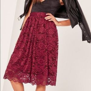 Missguided red floral Lace skirt
